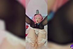 Satin sex Buruma Aoi screams with two males fucking her